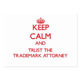Guarde la calma y confíe en al abogado de la marca plantilla de tarjeta de negocio