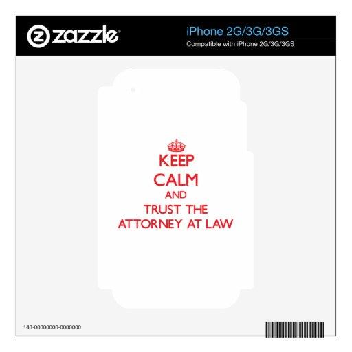 Guarde la calma y confíe en al abogado en la ley iPhone 3G calcomanía