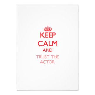 Guarde la calma y confíe en al actor comunicados personalizados