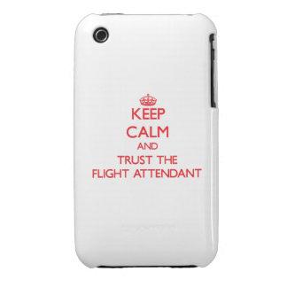Guarde la calma y confíe en al asistente de vuelo iPhone 3 Case-Mate fundas