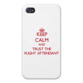 Guarde la calma y confíe en al asistente de vuelo iPhone 4/4S fundas