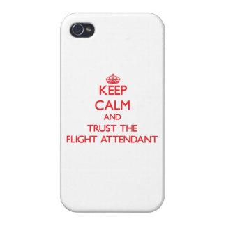 Guarde la calma y confíe en al asistente de vuelo iPhone 4 cárcasa
