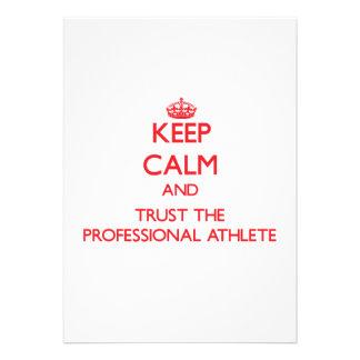 Guarde la calma y confíe en al atleta profesional invitación personalizada