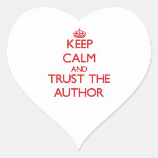 Guarde la calma y confíe en al autor calcomania corazon personalizadas