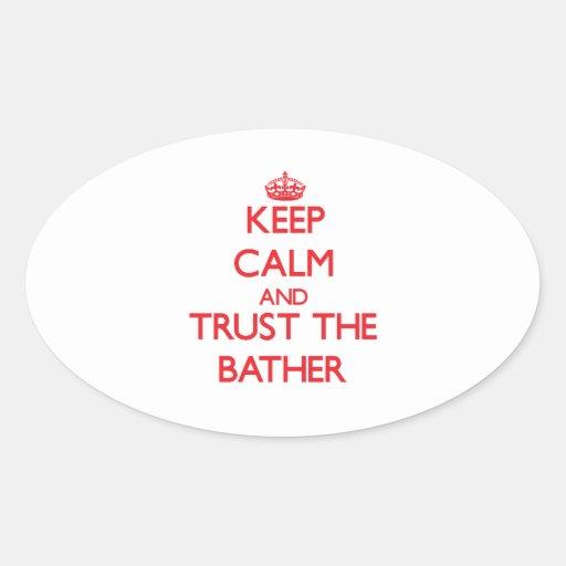 Guarde la calma y confíe en al bañista calcomania ovaladas personalizadas