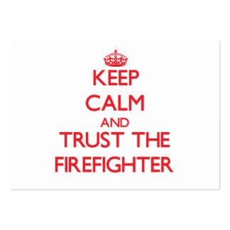 Guarde la calma y confíe en al bombero plantillas de tarjetas personales