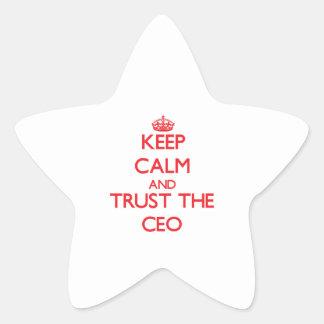 Guarde la calma y confíe en al CEO Pegatinas Forma De Estrella Personalizadas