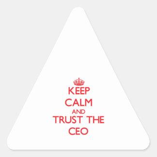 Guarde la calma y confíe en al CEO Calcomanía De Triangulo Personalizadas