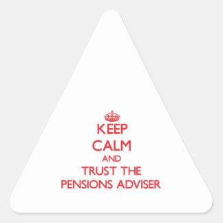 Guarde la calma y confíe en al consejero de las colcomanias de triangulo personalizadas