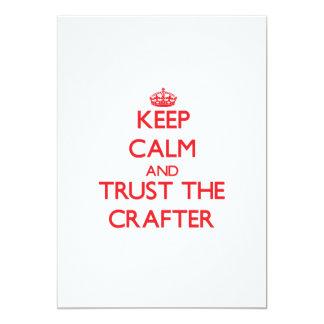 Guarde la calma y confíe en al Crafter Invitación 12,7 X 17,8 Cm