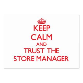 Guarde la calma y confíe en al encargado de tienda plantilla de tarjeta de visita
