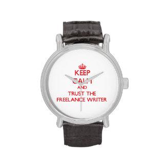 Guarde la calma y confíe en al escritor free lance relojes de pulsera