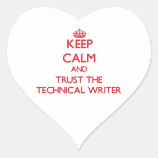 Guarde la calma y confíe en al escritor técnico pegatina corazon