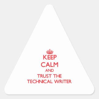 Guarde la calma y confíe en al escritor técnico calcomanías trianguloes personalizadas