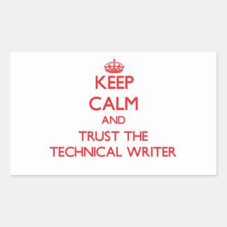 Guarde la calma y confíe en al escritor técnico pegatina