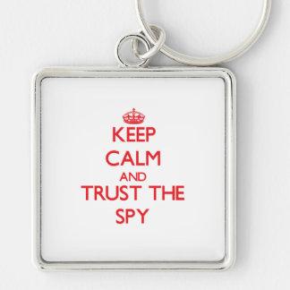 Guarde la calma y confíe en al espía llaveros personalizados