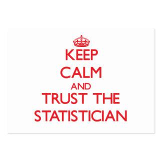 Guarde la calma y confíe en al estadístico tarjeta de visita