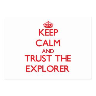 Guarde la calma y confíe en al explorador tarjetas de visita