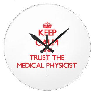 Guarde la calma y confíe en al físico médico reloj redondo grande
