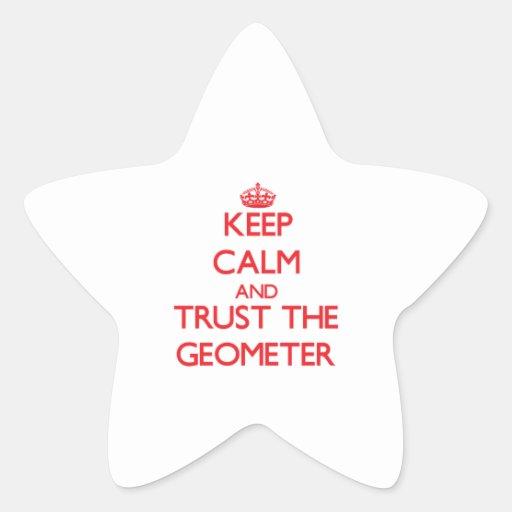 Guarde la calma y confíe en al geómetra pegatinas forma de estrella personalizadas