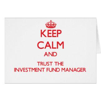Guarde la calma y confíe en al gestor de fondos de tarjeta