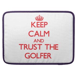 Guarde la calma y confíe en al golfista funda para macbooks