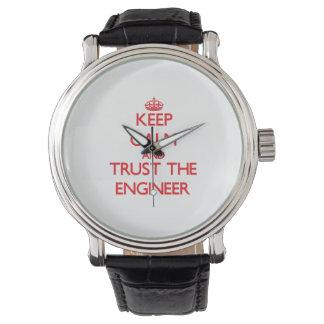 Guarde la calma y confíe en al ingeniero reloj