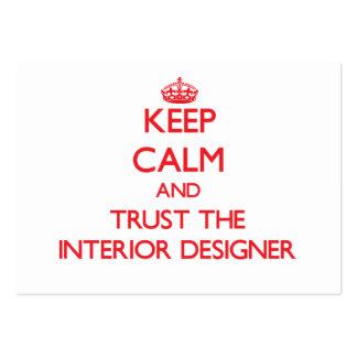 Guarde la calma y confíe en al interiorista tarjeta personal
