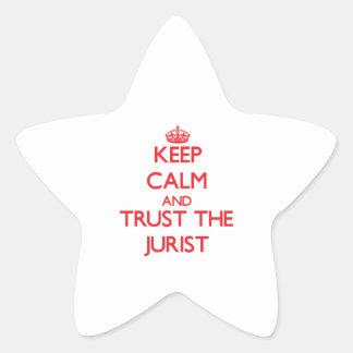 Guarde la calma y confíe en al jurista colcomanias forma de estrella