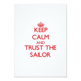 """Guarde la calma y confíe en al marinero invitación 5"""" x 7"""""""