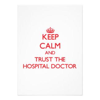 Guarde la calma y confíe en al médico de hospital anuncios