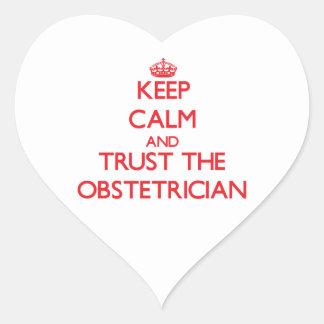 Guarde la calma y confíe en al obstétrico pegatina corazón