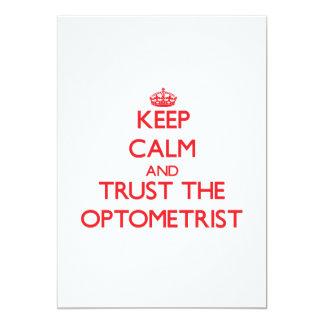 Guarde la calma y confíe en al optometrista invitación