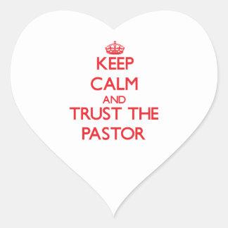 Guarde la calma y confíe en al pastor pegatina de corazon personalizadas