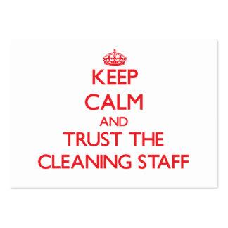 Guarde la calma y confíe en al personal de limpiez tarjetas de visita grandes