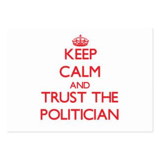 Guarde la calma y confíe en al político tarjetas de visita grandes