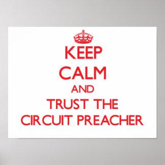Guarde la calma y confíe en al predicador del circ poster