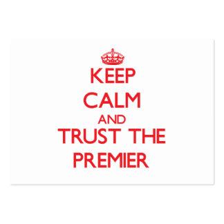 Guarde la calma y confíe en al primero ministro tarjetas de visita grandes