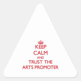 Guarde la calma y confíe en al promotor de los art calcomania de trianguladas