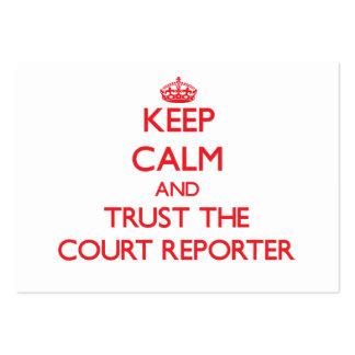 Guarde la calma y confíe en al reportero de corte tarjetas de visita grandes