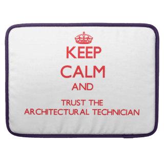 Guarde la calma y confíe en al técnico arquitectón funda para macbooks