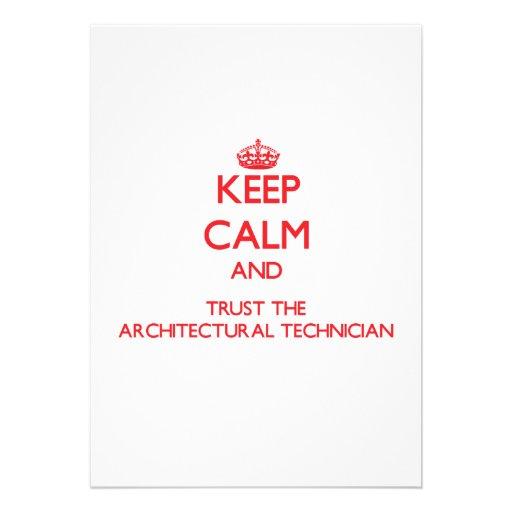 Guarde la calma y confíe en al técnico arquitectón anuncio