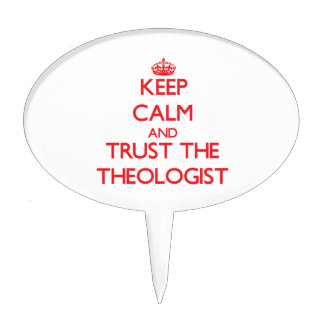 Guarde la calma y confíe en al teólogo figuras para tartas