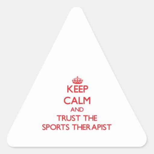 Guarde la calma y confíe en al terapeuta de los de colcomanias triangulo personalizadas