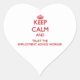 Guarde la calma y confíe en al trabajador del cons pegatina corazón