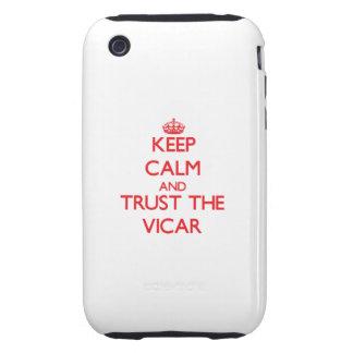 Guarde la calma y confíe en al vicario tough iPhone 3 carcasas
