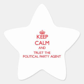 Guarde la calma y confíe en el agente del fiesta p etiqueta