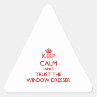 Guarde la calma y confíe en el aparador de ventana pegatina triangular