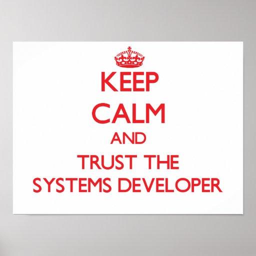 Guarde la calma y confíe en el desarrollador de lo posters