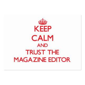 Guarde la calma y confíe en el editor de revista plantilla de tarjeta personal